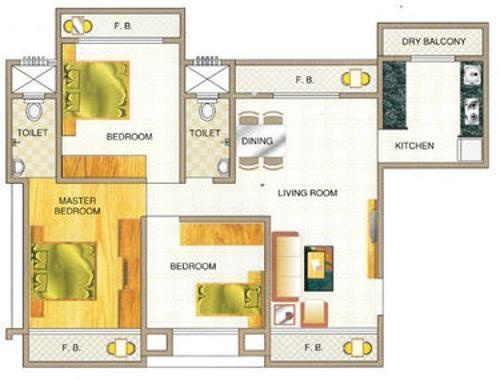 Poonam Kalpavruksh (1BHK+2T (710 sq ft) Apartment 710 sq ft)