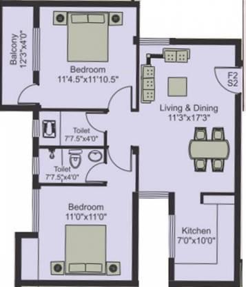 Poomalai Hiranya (2BHK+2T (932 sq ft) Apartment 932 sq ft)