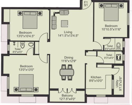 Poomalai Hiranya (3BHK+3T (1,496 sq ft) Apartment 1496 sq ft)