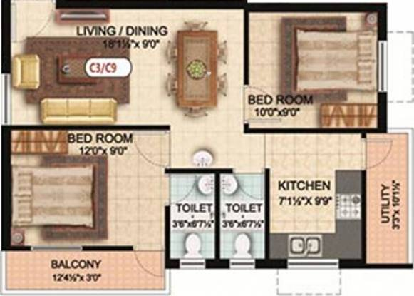 Colorhomes Breeze Avenue (2BHK+2T (793 sq ft) Apartment 793 sq ft)
