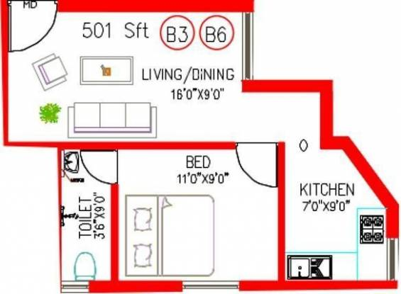 Colorhomes Blossom Avenue (1BHK+1T (501 sq ft) Apartment 501 sq ft)