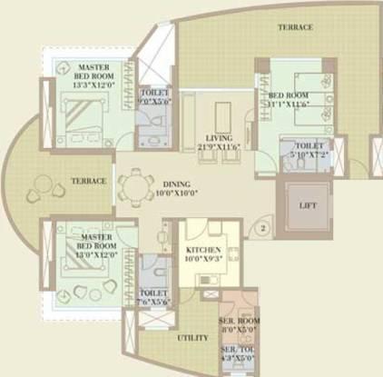 Orbit Enclave (3BHK+4T (3,200 sq ft)   Servant Room Apartment 3200 sq ft)