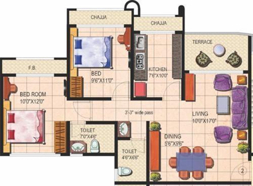 Tharwani Rosalie (2BHK+2T (1,127 sq ft) Apartment 1127 sq ft)