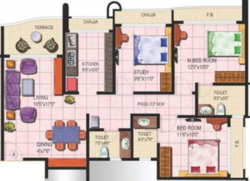 Tharwani Rosalie (3BHK+3T (1,431 sq ft) Apartment 1431 sq ft)