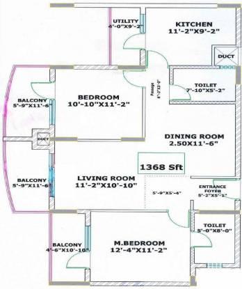 Valmark Regency Pinnacle Heights (2BHK+2T (1,368 sq ft) Apartment 1368 sq ft)