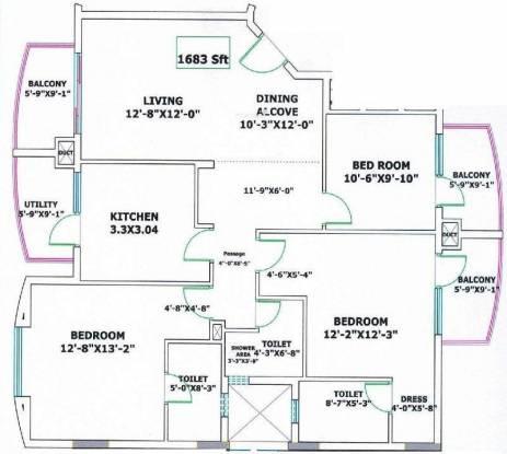 Valmark Regency Pinnacle Heights (3BHK+3T (1,683 sq ft) Apartment 1683 sq ft)
