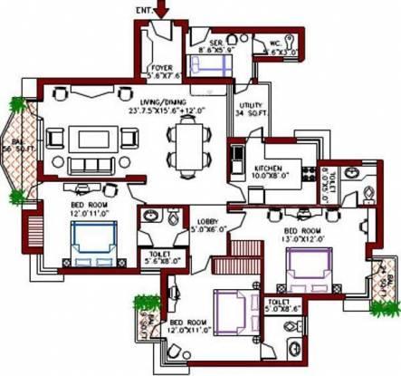 Vipul Greens (3BHK+3T (1,630 sq ft) Apartment 1630 sq ft)