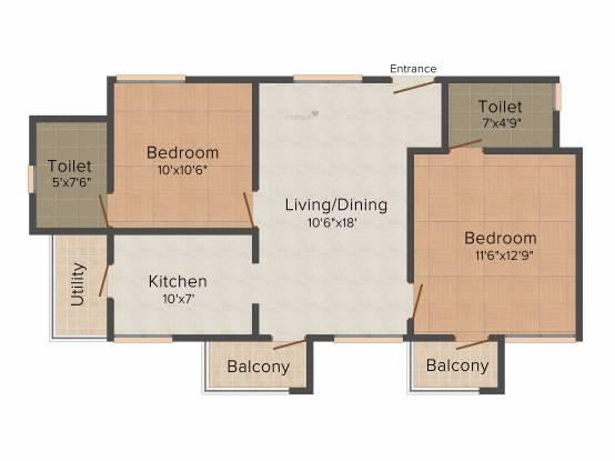 Confident Centaurus (2BHK+2T (945 sq ft) Apartment 945 sq ft)