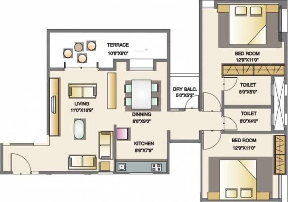 Icon Windsor Residency (2BHK+2T (1,209 sq ft) Apartment 1209 sq ft)