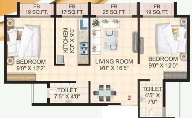 Hi Tech The Gold Crest (2BHK+2T (1,000 sq ft) Apartment 1000 sq ft)