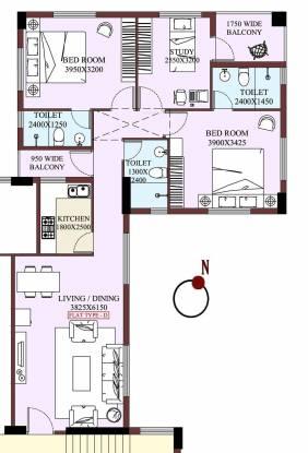 Shrachi Dakshin (2BHK+3T (1,360 sq ft)   Study Room Apartment 1360 sq ft)