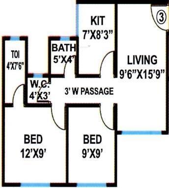 Apex Jyoti Basera (2BHK+2T (760 sq ft) Apartment 760 sq ft)