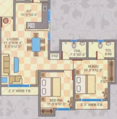 Cosmos Jewels (2BHK+2T (687 sq ft) Apartment 687 sq ft)