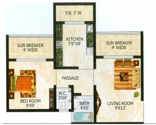 Raj Tulsi City (1BHK+1T (610 sq ft) Apartment 610 sq ft)