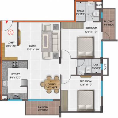 PNR Brinda Residency (2BHK+2T (1,204 sq ft) Apartment 1204 sq ft)