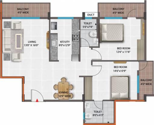 PNR Brinda Residency (2BHK+2T (1,304 sq ft) Apartment 1304 sq ft)