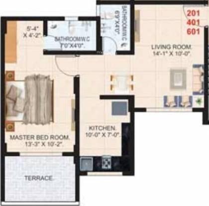 Happy Home Ekta Apartments (1BHK+1T (711 sq ft) Apartment 711 sq ft)