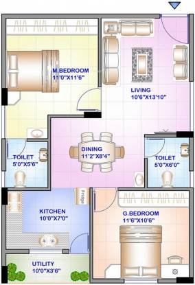 ISR Sukriti (2BHK+2T (913 sq ft) Apartment 913 sq ft)
