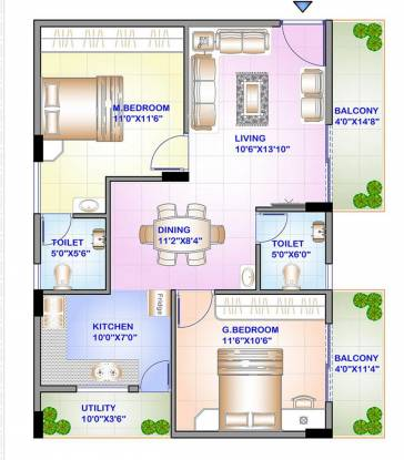 ISR Sukriti (2BHK+2T (1,038 sq ft) Apartment 1038 sq ft)