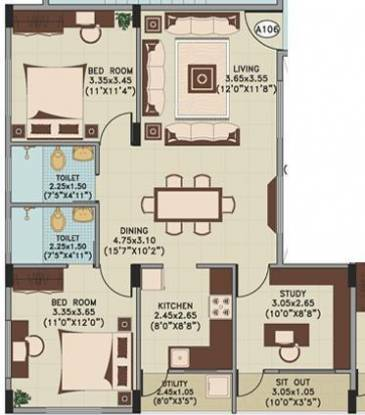 Ahad Silver Crown (2BHK+2T (1,010 sq ft) Apartment 1010 sq ft)