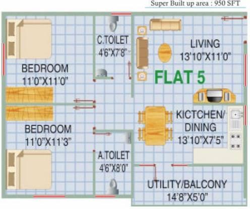 RV Shastri Residencey (2BHK+2T (950 sq ft) Apartment 950 sq ft)
