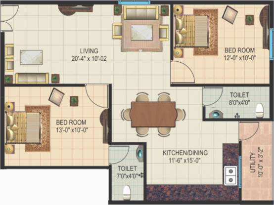 Amigo Sri Sai Icon (2BHK+2T (1,107 sq ft) Apartment 1107 sq ft)