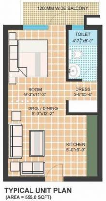 Omaxe Mid Town (1BHK+1T (555 sq ft) Apartment 555 sq ft)