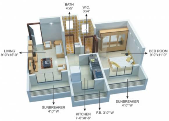 Khatri Om Sai Complex Phase2 (1BHK+1T (655 sq ft) Apartment 655 sq ft)