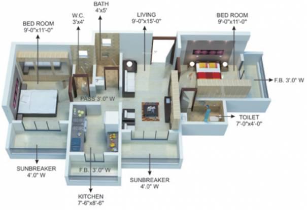 Khatri Om Sai Complex Phase2 (2BHK+2T (898 sq ft) Apartment 898 sq ft)