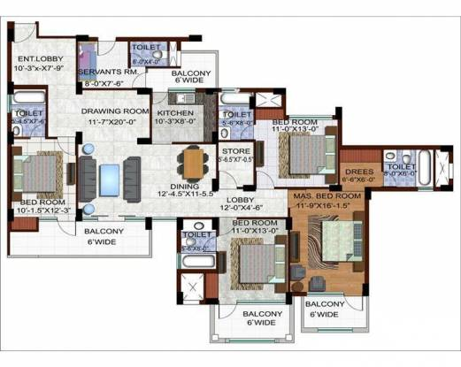 Ramprastha The Edge Towers (4BHK+4T (2,390 sq ft) Apartment 2390 sq ft)