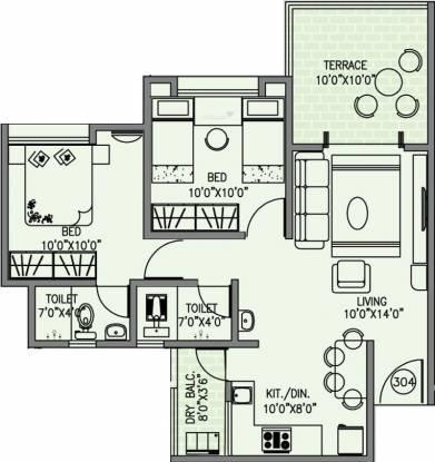 Concord Pushpak (2BHK+2T (898 sq ft) Apartment 898 sq ft)