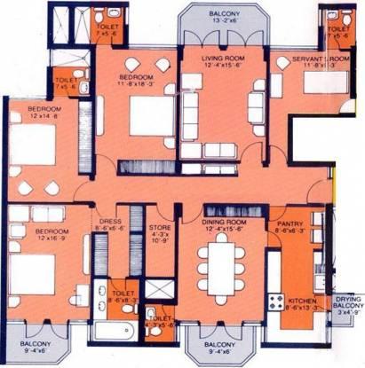 DLF Hamilton Court (3BHK+5T (2,540 sq ft)   Servant Room Apartment 2540 sq ft)