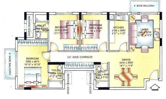 DLF Ridgewood Estate (3BHK+3T (1,443 sq ft) Apartment 1443 sq ft)
