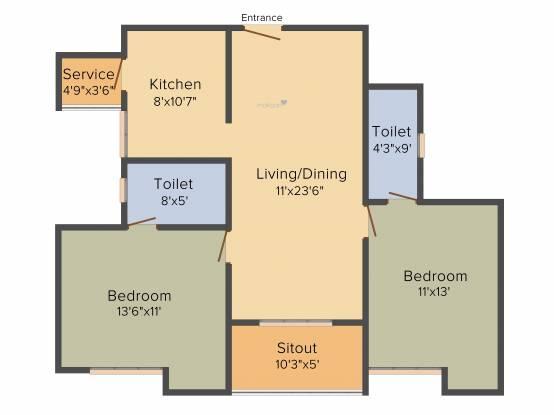 Kgeyes Padmalayam (2BHK+2T (1,141 sq ft) Apartment 1141 sq ft)
