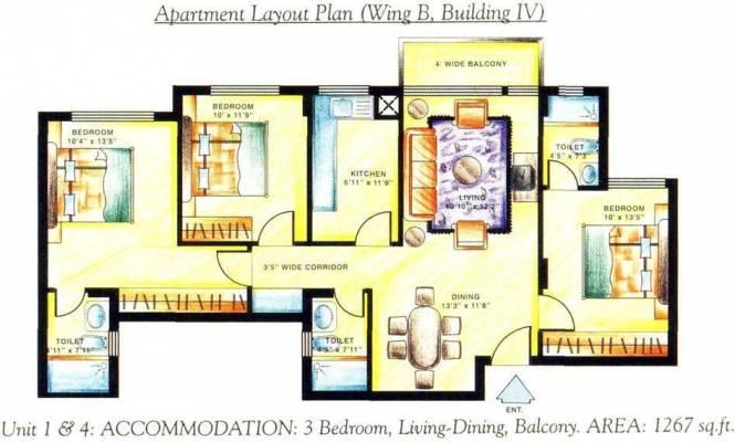 DLF Carlton Estate (3BHK+3T (1,267 sq ft) Apartment 1267 sq ft)