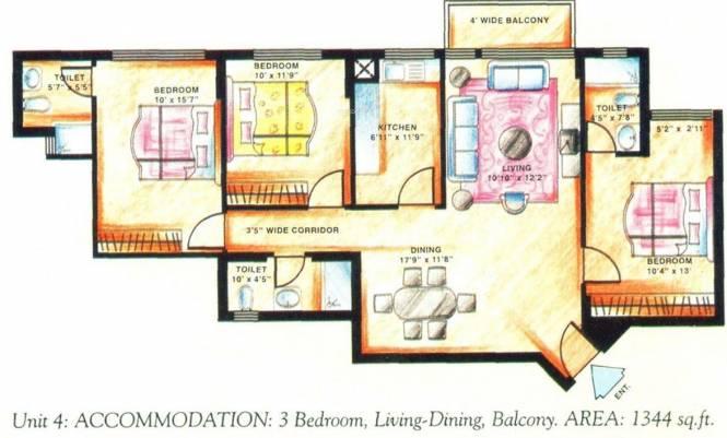 DLF Carlton Estate (3BHK+3T (1,344 sq ft) Apartment 1344 sq ft)