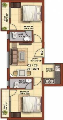 Colorhomes Royal Orchid (2BHK+2T (731 sq ft) Apartment 731 sq ft)