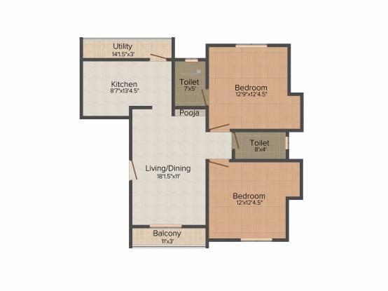 Poomalai Daksha (2BHK+2T (1,125 sq ft) Apartment 1125 sq ft)