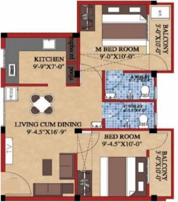 Shree Shree Guru Flats (2BHK+2T (761 sq ft) Apartment 761 sq ft)