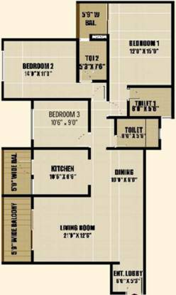 Pride Pavilion (3BHK+3T (1,567 sq ft) Apartment 1567 sq ft)