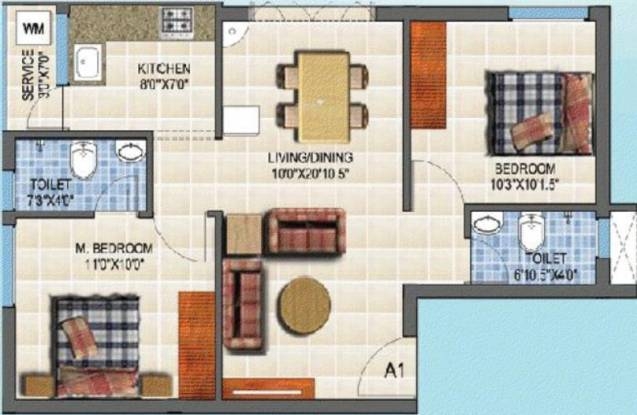 Winner Visaka (2BHK+2T (883 sq ft) Apartment 883 sq ft)
