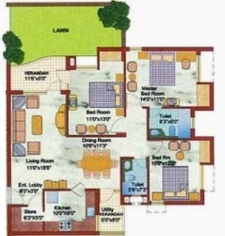 Samiah Vrinda City (3BHK+2T (1,480 sq ft) Apartment 1480 sq ft)