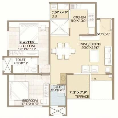 Raviraj Ariiana (2BHK+2T (1,114 sq ft) Apartment 1114 sq ft)