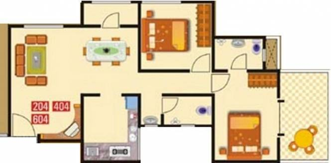 GK Flora Residency (2BHK+2T (1,021 sq ft) Apartment 1021 sq ft)