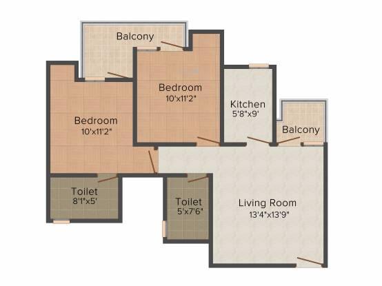 KLJ Platinum Heights (2BHK+2T (930 sq ft) Apartment 930 sq ft)