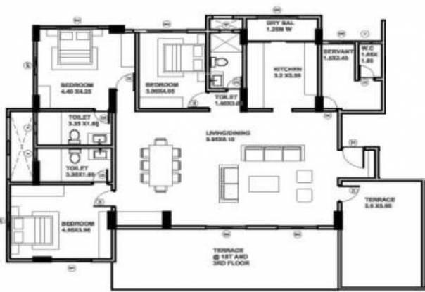 Searock 10 North (3BHK+3T (2,804 sq ft) + Servant Room Apartment 2804 sq ft)