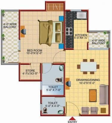 Techman Moti Residency (1BHK+2T (650 sq ft) Apartment 650 sq ft)