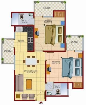 Techman Moti Residency (2BHK+2T (850 sq ft) Apartment 850 sq ft)