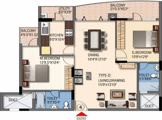Mantri Global Heights (2BHK+2T (1,315 sq ft) Apartment 1315 sq ft)