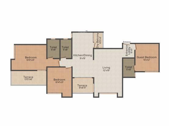 Venkateshwara Silver Moon (3BHK+3T (1,484 sq ft) Apartment 1484 sq ft)